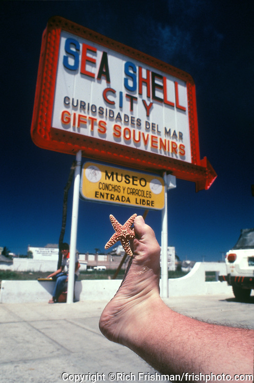 Footograph: Photograph of my right foot holding starfish sea shell outside a tourist shop selling sea shells in Cozumel, Mexico