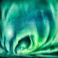 Painterly rendition of Northern Lights spreading across the sky in green and blue tones