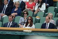 Image ©Licensed to i-Images Picture Agency. 02/07/2014. London, United Kingdom. The Duke and Duchess of Cambridge watch the Quarter Finals on centre court in the Royal box at  Wimbledon. Picture by Andrew Parsons / i-Images