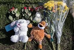 © Licensed to London News Pictures. 15/03/2017. Faringdon, UK. Toys and flowers are left in front of a house after a child was found dead. Thames Valley police said a woman has been arrested on suspicion of murder after they found the body of a child at a property at Bromsgrove Cottages in Faringdon yesterday lunchtime.   Photo credit: Peter Macdiarmid/LNP