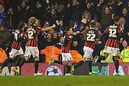 Adrian Colunga of Brighton and Hove Albion (3rd left) celebrates scoring the opening goal against Fulham during the Sky Bet Championship match at Craven Cottage, London<br /> Picture by David Horn/Focus Images Ltd +44 7545 970036<br /> 29/12/2014