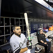 NEW YORK, NEW YORK - May 31:  Dioner Navarro #27 of the Chicago White Soxx preparing to bat in the dugout during the Chicago White Sox Vs New York Mets regular season MLB game at Citi Field on May 31, 2016 in New York City. (Photo by Tim Clayton/Corbis via Getty Images)