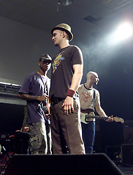 Justin Timberlake joined Pharrell Williams, and the band NERO, on stage at the Corn Exchange, on the night of the 2003 MTV Europe Music Awards in Edinburgh, Scotland.