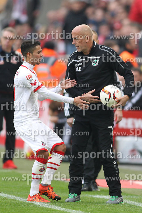 18.10.2015, Rhein Energie Stadion, Koeln, GER, 1. FBL, 1. FC Koeln vs Hannover 96, 9. Runde, im Bild Michael Frontzeck (Hannover 96) und der ex Hannoveraner Leonardo Bittencourt (1. FC Koeln #21) // during the German Bundesliga 9th round match between 1. FC Cologne and Hannover 96 at the Rhein Energie Stadion in Koeln, Germany on 2015/10/18. EXPA Pictures &copy; 2015, PhotoCredit: EXPA/ Eibner-Pressefoto/ Schueler<br /> <br /> *****ATTENTION - OUT of GER*****