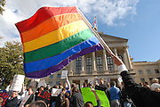 Protestors rally against Proposition 8, California's anti-gay marriage bill, in front of the Georgia state capitol in 2008. Today in a 5-4 decision said the Defense of Marriage Act, the 1996 law that denied benefits to same-sex married couples, is unconstitutional.