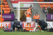 Bradford City midfielder Romain Vincelot (6) and Blackpool striker Kyle Vassell (7) receive treatment during the EFL Sky Bet League 1 match between Blackpool and Bradford City at Bloomfield Road, Blackpool, England on 7 April 2018. Picture by Craig Galloway.