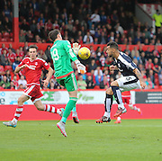 Aberdeen keeper Danny Ward denies Dundee's Kane Hemmings - Aberdeen v Dundee at Pittodrie<br /> - Ladbrokes Premiership<br /> <br />  - &copy; David Young - www.davidyoungphoto.co.uk - email: davidyoungphoto@gmail.com