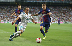 August 16, 2017 - Madrid, Spain - Lucas Vazquez (L) and Lucas Digne (R). Real Madrid defeated Barcelona 2-0 in the second leg of the Spanish Supercup football match at the Santiago Bernabeu stadium in Madrid, on August 16, 2017. (Credit Image: © Antonio Pozo/VW Pics via ZUMA Wire)