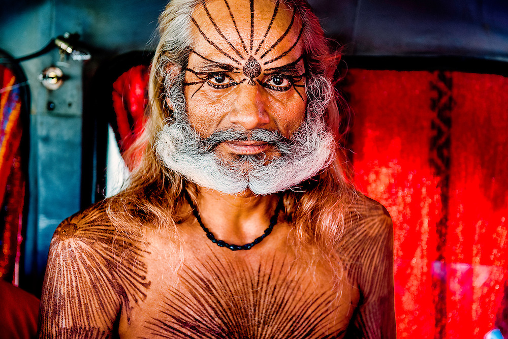 A sadhu from the state of Madhya Pradesh. He was a follower of Goddess Kali and was living in his own vehicle during the Kumbh Mela.