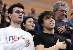 Boys singing the Italian national song at the Opening ceremony at the 1st day of  European Athletics Indoor Championships Torino 2009 (6th - 8th March), at Oval Lingotto Stadium,  Torino, Italy, on March 6, 2009. (Photo by Vid Ponikvar / Sportida)