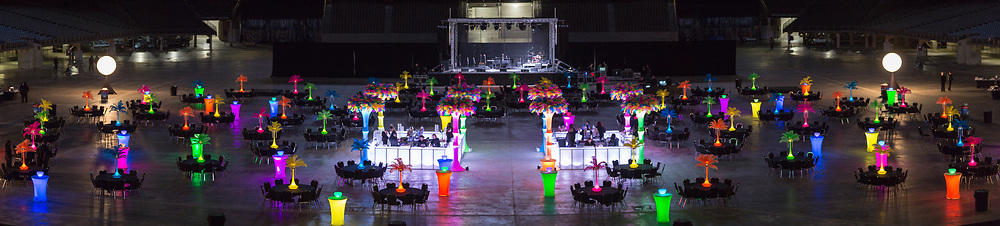 Decor on the floor of the Mercedes-Benz Superdome for the 2018 AMC Connections conference; decor by Accent DMC