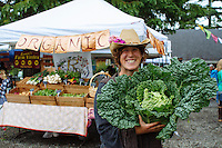 Ginger Edwards (owner of North Fork 53 / Revolution Gardens) armers market in Manzanita, Oregon.