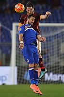 Kostas Manolas Roma, Fabio Quagliarella Sampdoria <br /> Roma 07-02-2016 Stadio Olimpico, Football Calcio 2015/2016 Serie A. AS Roma - Sampdoria . Foto Andrea Staccioli / Insidefoto
