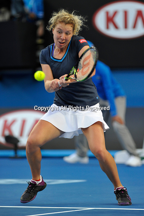 19.01.2015 Australian Open Tennis from Melbourne Park. Anna-Lena Friedsam of Germany returns a shot in her match against Eugenie Bouchard of Canada on day one of the 2015 Australian Open at Melbourne Park, Melbourne, Australia.