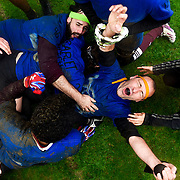 David St. Germain (centre), the seeker for the Toronto Avengers quidditch team, celebrates with his teammates after capturing the snitch to win the first ever Quidditch Canada National Championship at Swangard Stadium in Burnaby, B.C. on March 29, 2015. The Avengers defeated McGill Quidditch 40-30.