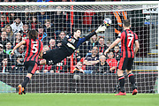 Goal - Asmir Begovic (27) of AFC Bournemouth is beaten by a free kick from Luka Milivojevic (4) of Crystal Palace who scores a goal to give a 0-1 lead to the away team  during the Premier League match between Bournemouth and Crystal Palace at the Vitality Stadium, Bournemouth, England on 7 April 2018. Picture by Graham Hunt.