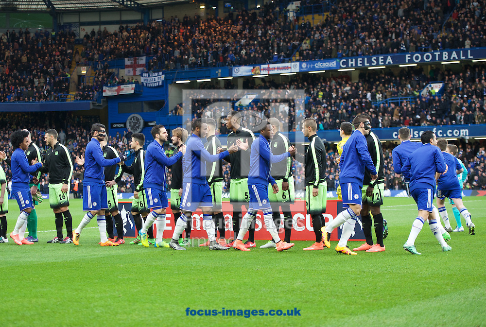 Chelsea and Manchester City players shake hands before the during the FA Cup match at Stamford Bridge, London<br /> Picture by Alan Stanford/Focus Images Ltd +44 7915 056117<br /> 21/02/2016