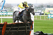 Gumball and Richard Johnson second in theThe Doom Bar Anniversary 4 Y O Juvenile Hurdle Race at Aintree, Liverpool, United Kingdom on 12 April 2018. Picture by Craig Galloway.