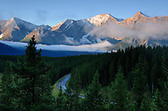 Morning light on Rocky Mountains, Fog, Peter Lougheed Provinical Park, Alberta, Canada.