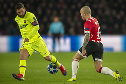 November 28, 2018 - Eindhoven, Netherlands - Lionel Messi of Barcelona and Angelino of PSV during the UEFA Champions League Group B match between PSV Eindhoven and FC Barcelona at Philips Stadium in Eindhoven, Netherlands on November 28, 2018  (Credit Image: © Andrew Surma/NurPhoto via ZUMA Press)