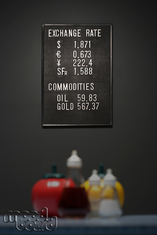 Currency exchange information sign