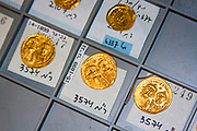 A collection of ancient gold coins found in Israel. Photographed at the Israel Antiquities Authority