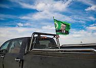 Iraq, Kurdistan, Kirkuk, peshmerga car with a president talabani patriotic union of kurdistan flag