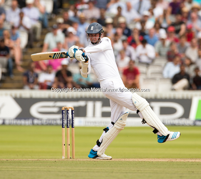 Stuart Broad hooks off the bowling of Ishant Sharma during the second Investec Test Match between England and India at Lord's Cricket Ground, London. Photo: Graham Morris/www.cricketpix.com (Tel: +44 (0)20 8969 4192; Email: graham@cricketpix.com) 21/07/14