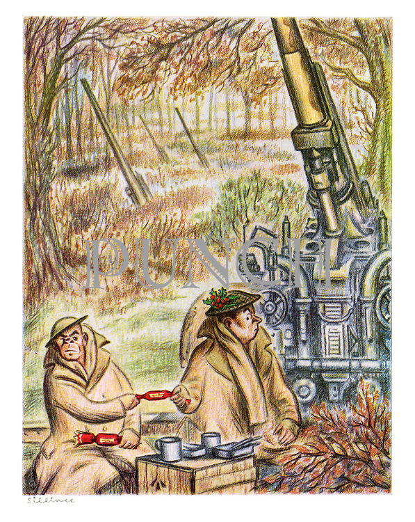 (Two army gunners prepare themselves for the bang when they pull a Christmas cracker)