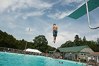 Fun from the high diving board during the 70th Anniversary celebration of the Kiwanis Pool in St. Johnsbury Vermont.  Karen Bobotas / for Kiwanis International