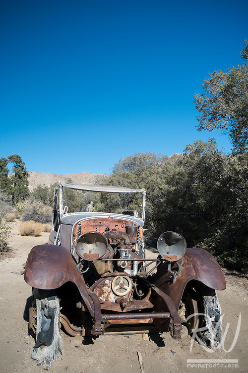 Broken-Down Car at Wall Street Mill, Joshua Tree National Park, California