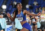 May 12, 2019; Yokohama, JPN; Joanna Atkins prepares to take the handoff on the second leg of the United Sates mixed 4 x 400m relay that won in 3:16.43 during the IAAF World Relays at International Stadium Yokohama.