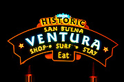 Historic Ventura welcome sign at night, Ventura, California USA