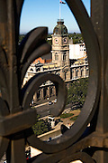 Ballarat Town Hall from old Post Office Tower taken through iron railing