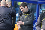 Burton Albion manager Nigel Clough checking his watch during the EFL Sky Bet Championship match between Queens Park Rangers and Burton Albion at the Loftus Road Stadium, London, England on 28 January 2017. Photo by Matthew Redman.