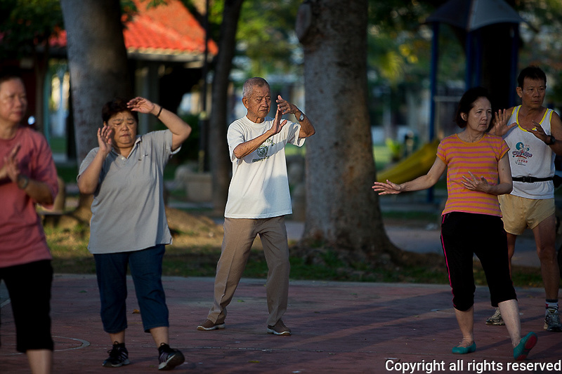 tai chi on the Esplanade near Fort Cornwallis