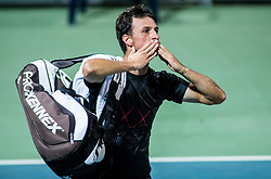 Andrea Arnaboldi (ITA) celebrates after winning during 1st Semifinal match at Day 8 of ATP Challenger Zavarovalnica Sava Slovenia Open 2018, on August 10, 2018 in Sports centre, Portoroz/Portorose, Slovenia. Photo by Vid Ponikvar / Sportida