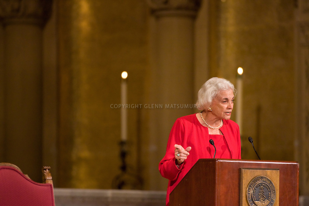 Stanford alumni and former Supreme Court Justice Sandra Day O'Connor lecture honoring late Stanford law professor Harry Rathbun at Memorial Church.