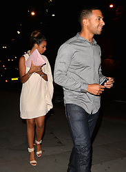 Marvin Humes and wife Rochelle Humes who seemed a little camera shy out celebrating their first wedding anniversary in Mayfair, London, UK. 28/07/2014<br />BYLINE MUST READ : GOTCHAIMAGES.COM<br /><br />Copyright by © Gotcha Images Ltd. All rights reserved.<br />Usage of this image is conditional upon the acceptance <br />of Gotcha Images Ltd, terms and conditions available at<br />www.gotchaimages.com