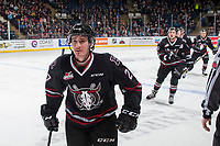 KELOWNA, CANADA - NOVEMBER 11:  Jared Dmytriw #27 of the Red Deer Rebels skates to the bench to celebrate a goal against the Kelowna Rockets on November 11, 2017 at Prospera Place in Kelowna, British Columbia, Canada.  (Photo by Marissa Baecker/Shoot the Breeze)  *** Local Caption ***