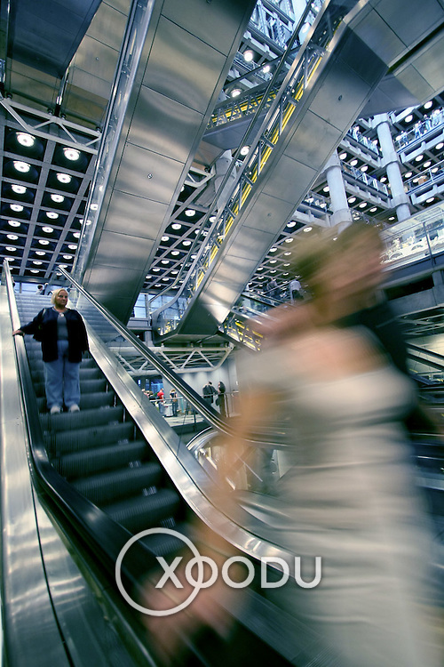 Lloyds building atrium escalators, London, England (September 2007)