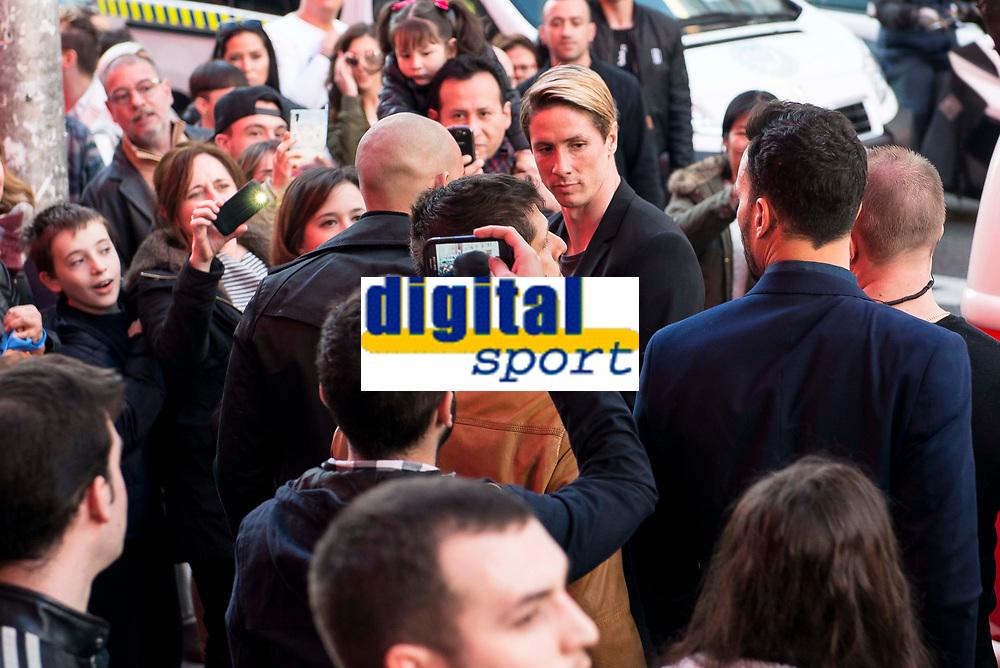 Atletico de Madrid's player Fernando Torres during the presentation of the new spot of  Mahou 5 Estrellas at Capitol Cinemas in Madrid. March 29, 2016. (ALTERPHOTOS/Borja B.Hojas)