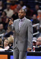 Apr 5, 2013; Phoenix, AZ, USA; Phoenix Suns head coach Lindsey Hunter reacts from the sidelines during the game against the Golden State Warriors at the US Airways Center. The Warriors defeated the Suns 111-107. Mandatory Credit: Jennifer Stewart-USA TODAY Sports