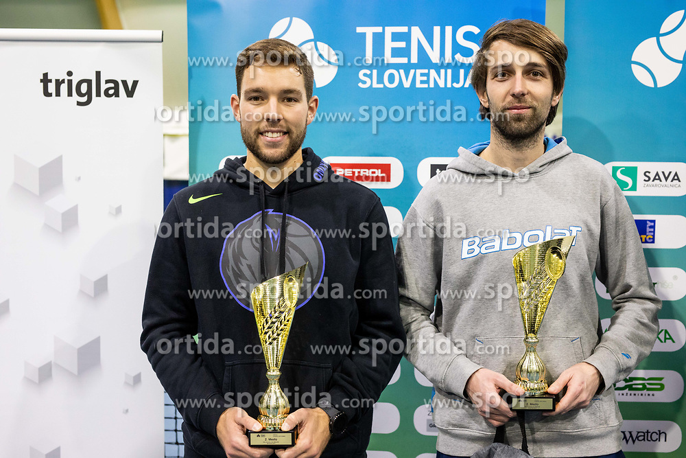Sven Lah and Toni Hazdovac at trophy ceremony after final match during Slovenian men's doubles tennis Championship 2019, on December 29, 2019 in Medvode, Slovenia. Photo by Vid Ponikvar/ Sportida