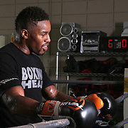 """WINTER HAVEN, FL - MAY 05: Boxer Willie Monroe Jr. (L) listens to trainer Tony Morgan between rounds at the Winter Haven Boxing Gym on May 5, 2015 in Winter Haven, Florida. Monroe will challenge middleweight world champion Gennady """"GGG"""" Golovkin for the WBA world championship title in Los Angeles on May 16.  (Photo by Alex Menendez/Getty Images) *** Local Caption *** Willie Monroe Jr.; Tony Morgan"""