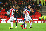 Tempers as Stoke City midfielder Joe Allen (4) is moved away during the EFL Sky Bet Championship match between Stoke City and Derby County at the Bet365 Stadium, Stoke-on-Trent, England on 28 November 2018.