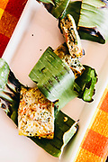 Herb omlet grilled in banana leaves