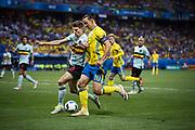 NICE, FRANCE, 2016-06-22<br /> FOTBOLL, EM, LANDSLAG<br /> Zlatan Ibrahimovic och Thomas Meunier under matchen mellan Sverige och Belgien p&aring; Stade de Nice i Nice, den 22 juni 2016.