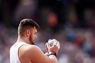 Great Britain, London - 2017 August 05: Konrad Bukowiecki (Gwardia Szczytno) of Poland competes in men's shot put qualification during IAAF World Championships London 2017 Day 2 at London Stadium on August 05, 2017 in London, Great Britain.<br /> <br /> Mandatory credit:<br /> Photo by © Adam Nurkiewicz<br /> <br /> Adam Nurkiewicz declares that he has no rights to the image of people at the photographs of his authorship.<br /> <br /> Picture also available in RAW (NEF) or TIFF format on special request.<br /> <br /> Any editorial, commercial or promotional use requires written permission from the author of image.