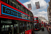 An Islamic advert on the side of a London bus, on 24th July 2018, in London, England.